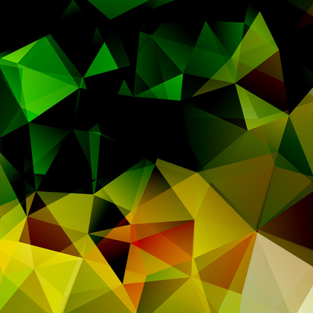 green and black: abstract background consisting of yellow, green, black triangles, vector illustration