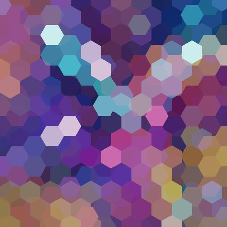 square composition: Background made of purple, brown, beige hexagons. Square composition with geometric shapes. Eps 10