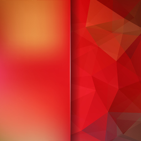 double page: Abstract background consisting of triangles. Geometric design for business presentations or web template banner flyer. Vector illustration. Red, orange colors. Illustration