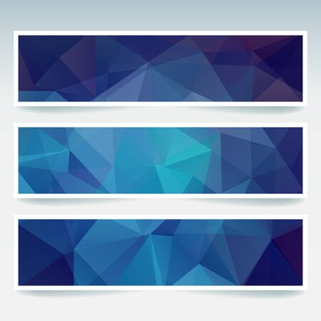 stiker: Vector banners set with polygonal abstract blue triangles. Abstract polygonal low poly banners.