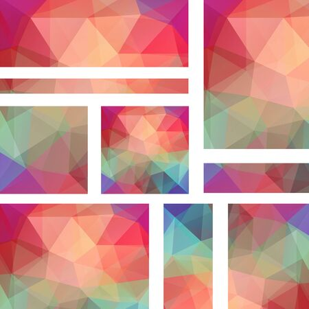 triangular banner: Abstract banner with business design templates. Set of Banners with polygonal mosaic backgrounds. Geometric triangular vector illustration. Autumn-colored.