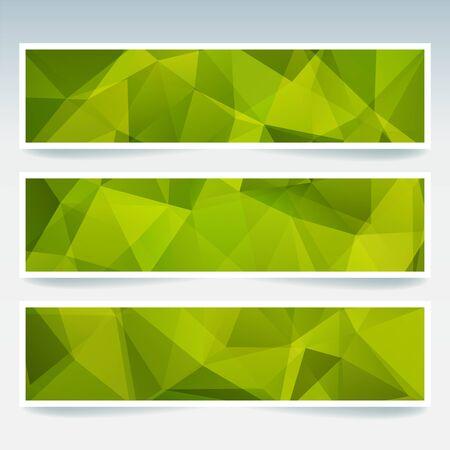 Set banner sjablonen met abstracte achtergrond. Moderne vectorbanners met veelhoekige achtergrond. Groene kleur.