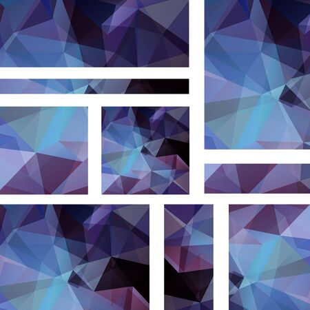 triangular banner: Abstract banner with business design templates. Set of Banners with polygonal mosaic backgrounds. Geometric triangular vector illustration. Dark blue, purple colors. Illustration