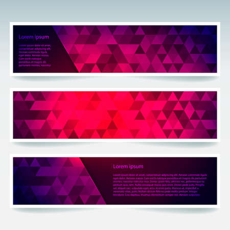triangular banner: Abstract banner with business design templates. Set of Banners with polygonal mosaic backgrounds. Geometric triangular vector illustration. Dark blue, purple, red, pink colors. Illustration