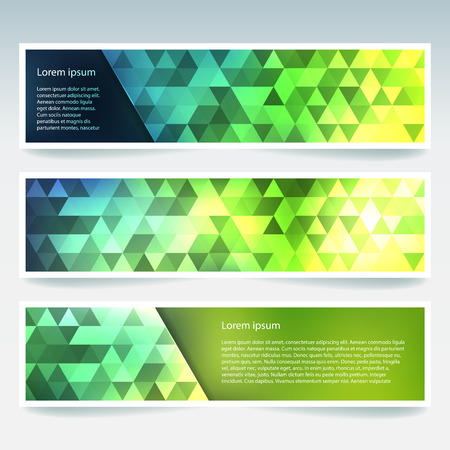 triangular banner: Abstract banner with business design templates. Set of Banners with polygonal mosaic backgrounds. Geometric triangular vector illustration. Green, yellow colors.