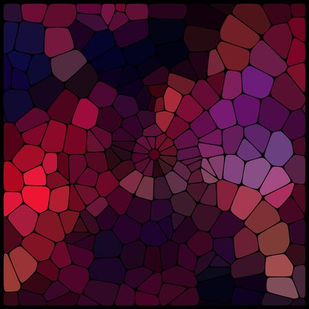 rounded edges: Abstract background consisting of black lines with rounded edges of different sizes and dark geometrical shapes. Vector illustration. Dark red, purple, brown colors.