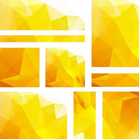 Vector banners set with polygonal abstract yellow triangles. Abstract polygonal low poly banners.