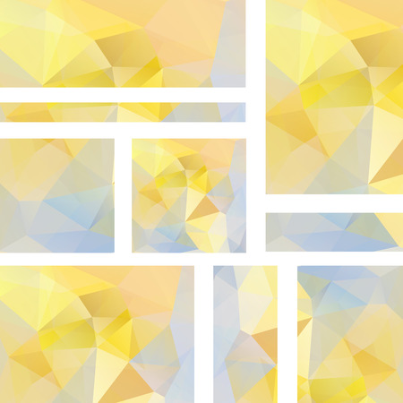 stiker: Vector banners set with polygonal abstract yellow, pastel blue triangles. Abstract polygonal low poly banners. Illustration