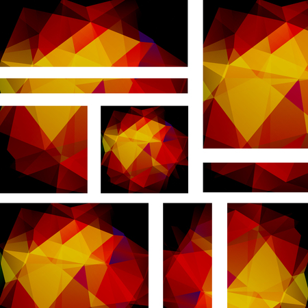 Vector banners set with polygonal abstract brown triangles. Abstract polygonal low poly banners. Illustration