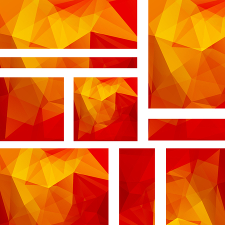 Vector banners set with polygonal abstract orange, red triangles. Abstract polygonal low poly banners.
