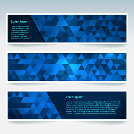 stiker: Vector banners set with polygonal abstract triangles. Abstract polygonal low poly banners.