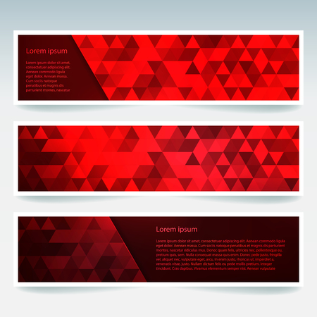 stiker: Abstract banner with business design templates. Set of Banners with polygonal mosaic backgrounds. Geometric triangular vector illustration. Red color. Illustration