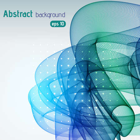 green swirl: Abstract background with swirl waves. Eps 10 vector illustration. Green, blue colors. Illustration