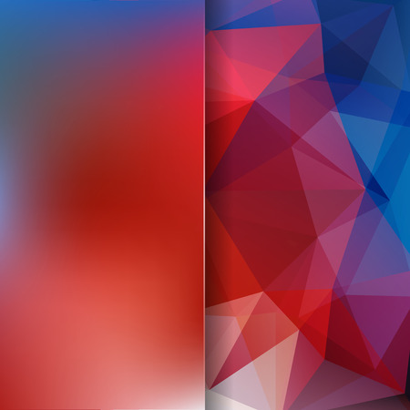 Abstract mosaic background. Blur background. Triangle geometric background. Design elements. Vector illustration. Red, blue colors