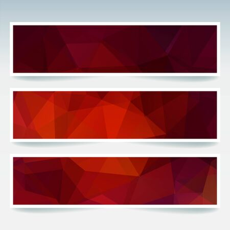 stiker: Vector banners set with polygonal abstract triangles. Abstract polygonal low poly banners. Red, orange, brown colors.