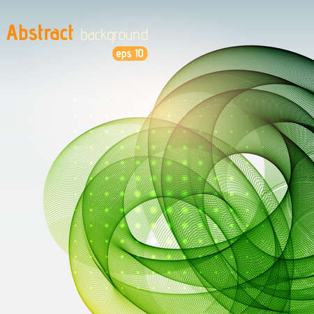 Abstract background with swirl waves. Eps 10 vector illustration. Green color. Ilustrace