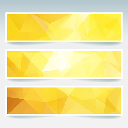 stiker: Vector banners set with polygonal abstract yellow, white, orange triangles. Abstract polygonal low poly banners. Illustration