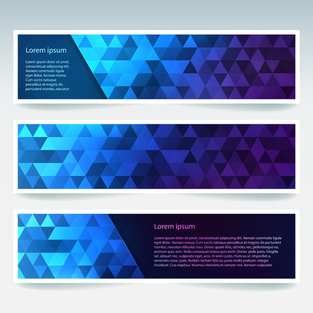stiker: Vector banners set with polygonal abstract triangles. Abstract polygonal low poly banners. Blue, purple colors.