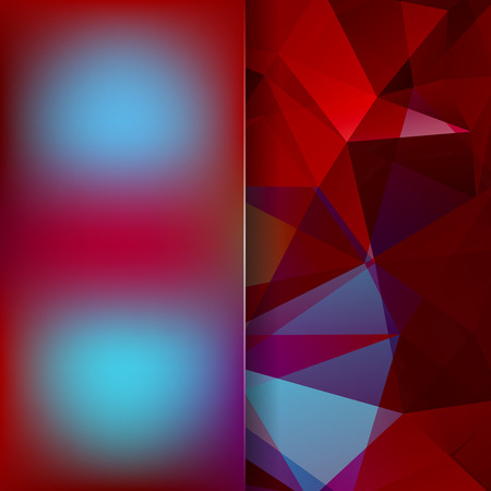 square composition: Background made of red, brown, blue triangles. Square composition with geometric shapes and blur element.