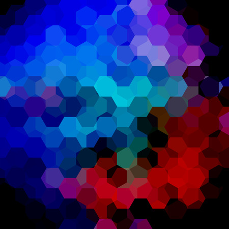 Abstract hexagons vector background. Colorful geometric vector illustration. Creative design template. Dark red, blue, pink colors