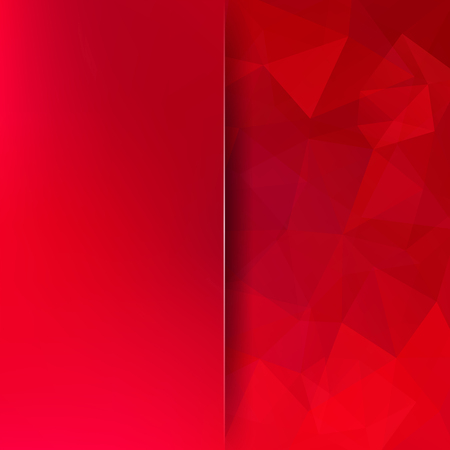 square composition: Background made of red triangles. Square composition with geometric shapes and blur element.