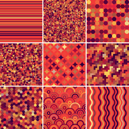 absract: Set with 9 abstract seamless geometric pattern, vector illustration. Red, orange, brown colors