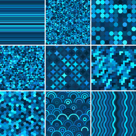 absract: Set with 9 blue abstract seamless geometric pattern, vector illustration