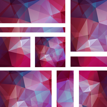 stiker: Abstract purple banner with business design templates. Set of Banners with polygonal mosaic backgrounds. Geometric triangular vector illustration.