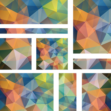 stiker: Horizontal banners set with polygonal triangles. Polygon background, vector illustration. Orange, blue, green colors