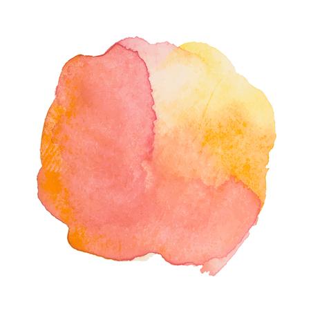 수채화 페인트 스트로크와 오렌지 수채화 얼룩 일러스트