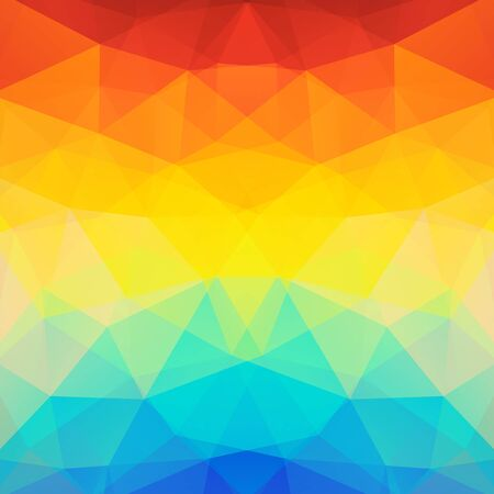 Background made of orange, yellow, blue triangles.