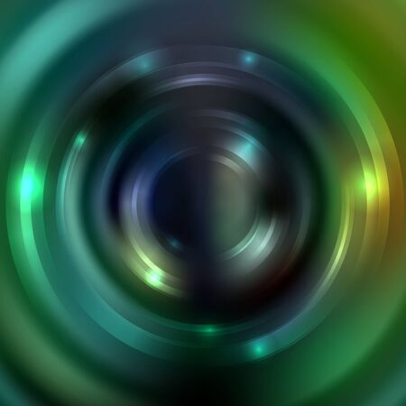Abstract background with luminous swirling backdrop. Vector infinite round tunnel of shining flares. Dark green colors Illustration