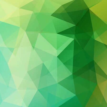 square composition: Background made of green triangles. Square composition with geometric shapes.