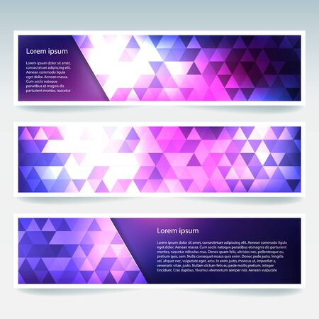 stiker: Set of banner templates with colorful abstract background. Modern vector banners with polygonal triangles. Pink, purple colors