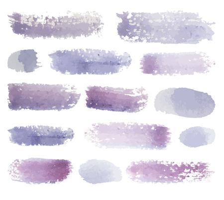 watercolor brush: Bright pink watercolor brush strokes, vector set