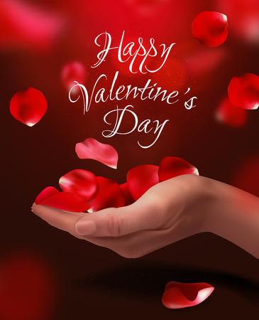 original single: Roses petals falling on woman hand, vector illustration. Valentines background. Red, pink colors Illustration