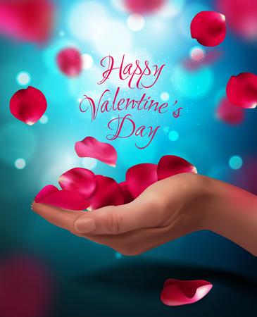 Róża płatki spada na kobiety ręce, wektorowa ilustracja. Walentynki w tle. Kolory czerwony, niebieski, różowy Ilustracje wektorowe