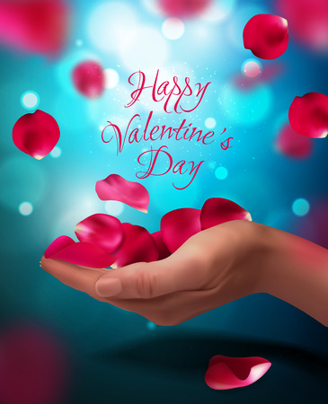 Roses petals falling on woman hand, vector illustration. Valentines background. Red, blue, pink colors Illustration