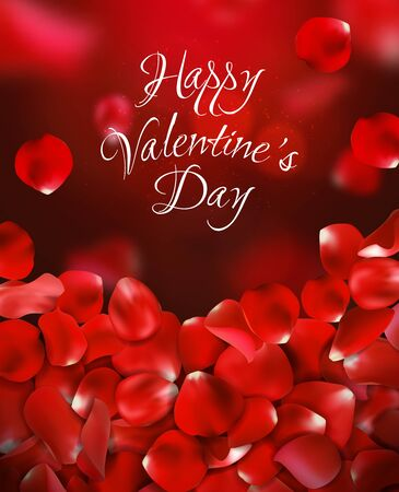 Happy valentines day handwritten text on blurred background with rose petals. Vector illustration. Red color.
