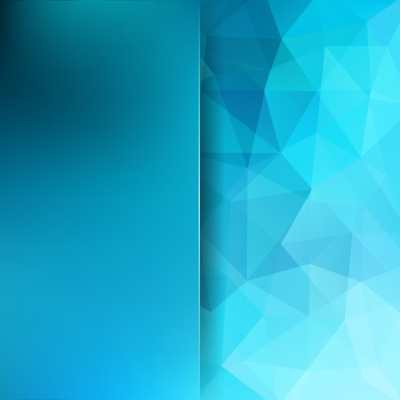 Background made of blue triangles. Square composition with geometric shapes and blur element. Illustration