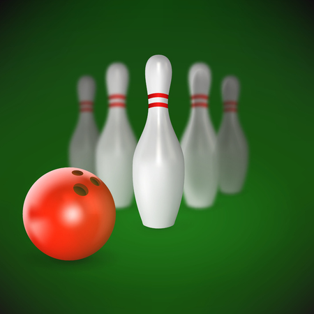 sphere standing: Realistic red ball and pin of bowling. Objects with shadows on sport theme, vector illustration Illustration