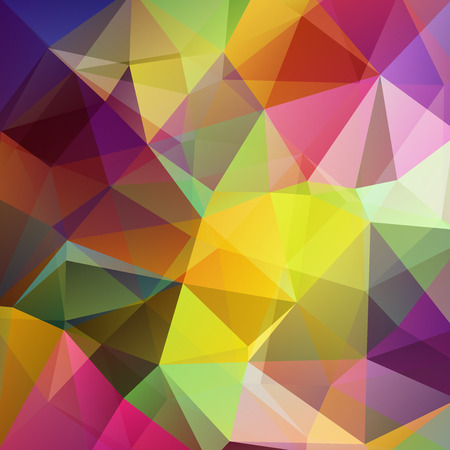 Polygonal vector background. Can be used in cover design, book design, website background. Vector illustration. Red, yellow, green, pink colors.