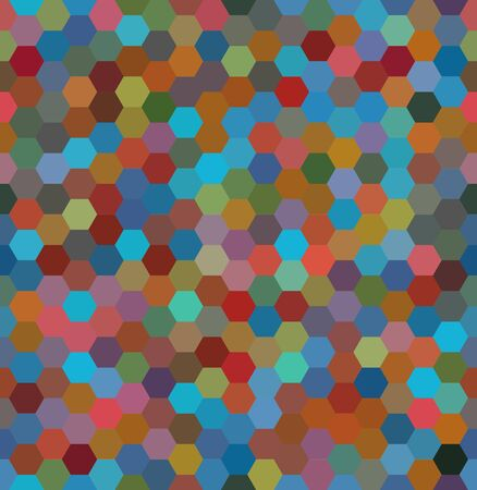 Vector background with brown, blue, red hexagons. Can be used for printing onto fabric and paper or decoration.