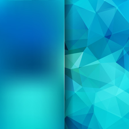 Background of blue geometric shapes. Blur background with glass. mosaic pattern.