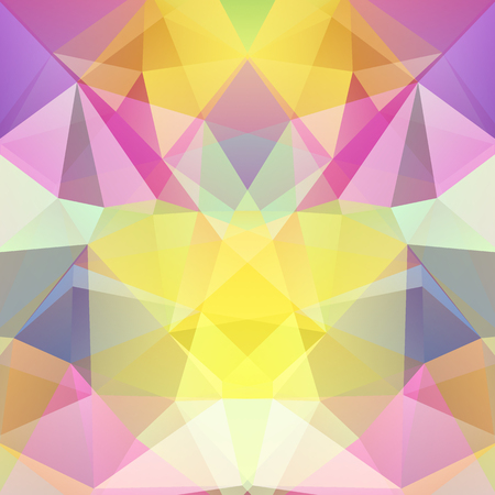 Abstract mosaic background. Triangle geometric background. Design elements. Vector illustration. Pastel glowing yellow, pink, green, white colors. Illustration