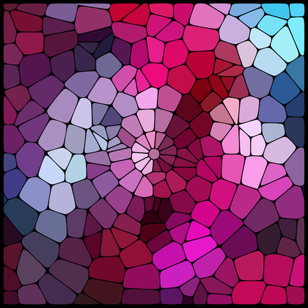 Abstract mosaic pattern consisting of geometric elements of different sizes and colors. Vector illustration. Pink, purple, blue colors. Illustration