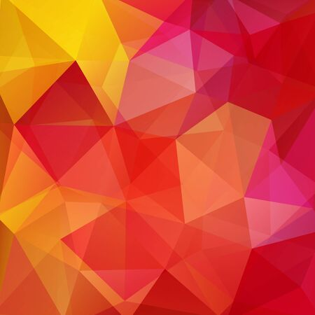 square composition: Background made of red, pink, yellow triangles. Square composition with geometric shapes. Eps 10 Illustration