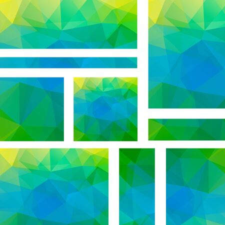 Set of banner templates with abstract background. Modern vector banners with polygonal background. Yellow, green, blue colors.
