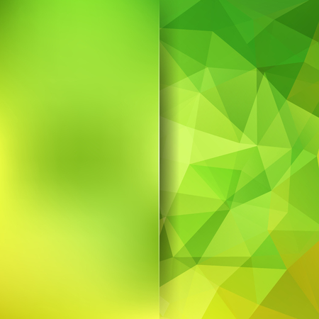 Abstract geometric style green background. Blur background with glass. Vector illustration