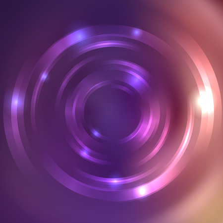 Vector round frame. Shining circle banner. Glowing spiral. Vector illustration. Pink, purple, violet colors